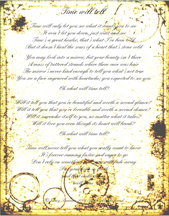 Lyrics for Time Will Tell (c) Janey Summer 2009